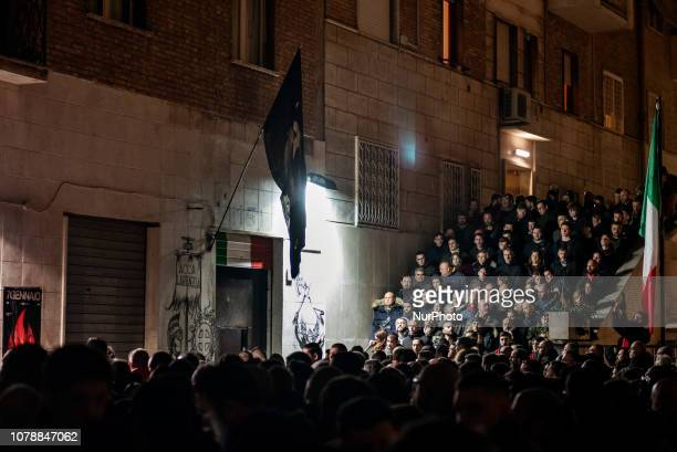 Casapound far-right wing militants gather in front of former MSI party branch during the 41st anniversary of Acca Larentia killings in Rome, Italy,...
