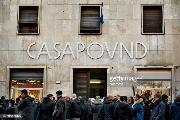 Casapound far-right wing militants gather in front of the party's headquarter before the 41st anniversary of Acca Larentia killings in Rome, Italy,...
