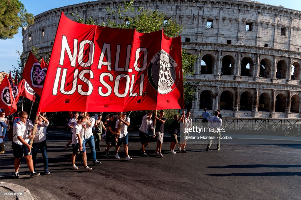 CasaPound March To Protest Against 'Ius Soli' Law : News Photo