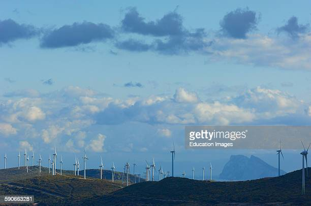 Casares Wind turbines Costa del Sol Gibraltar at background Malaga Province Andalusia Spain