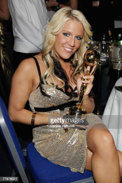 Cascada lead singer Natalie Horler poses with Best Selling German Artists award during the 2007 World Music Awards held at the Sporting Club on...