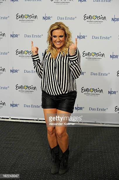 Cascada poses during a photocall after she won the TV Show finals of 'Our Star For Malmoe' on February 14 2013 in Hanover Germany 'Our Star For...
