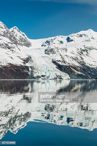 cascade glacier and chugach mountains reflected in the waters of barry arm, chugach national forest - chugach mountains stock pictures, royalty-free photos & images