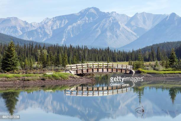 cascade ponds, banff national park - banff stock photos and pictures