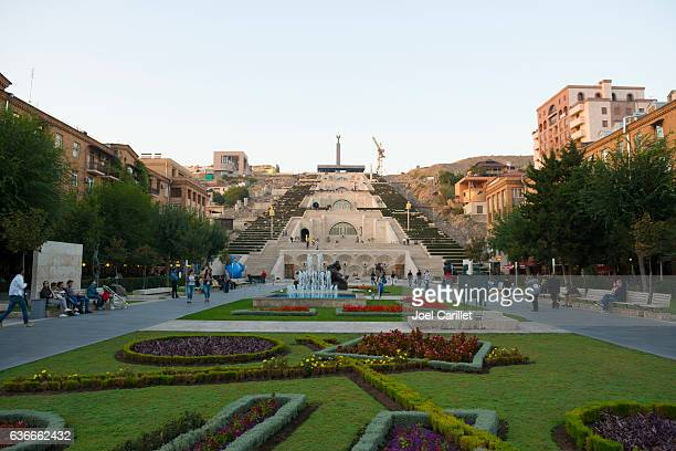 cascade stairs in yerevan, armenia - armenia stock pictures, royalty-free photos & images