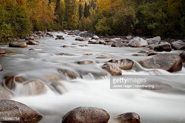 cascades on the little susitna river with fall colors, hatcher pass, alaska, united states of america, north america - mt. susitna stock pictures, royalty-free photos & images
