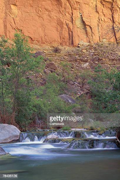 cascading water of havasu creek - havasu creek stock photos and pictures