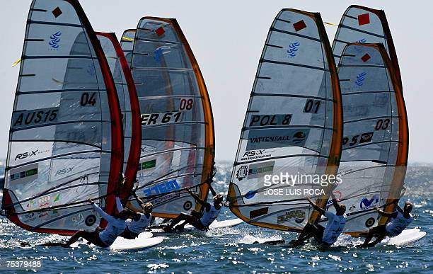 Sailors competes 12 July 2007 in the RSX Women class race of the Olympic Sailing World Championships ISAF 2007 in Cascais Portugal Poland's Zofia...