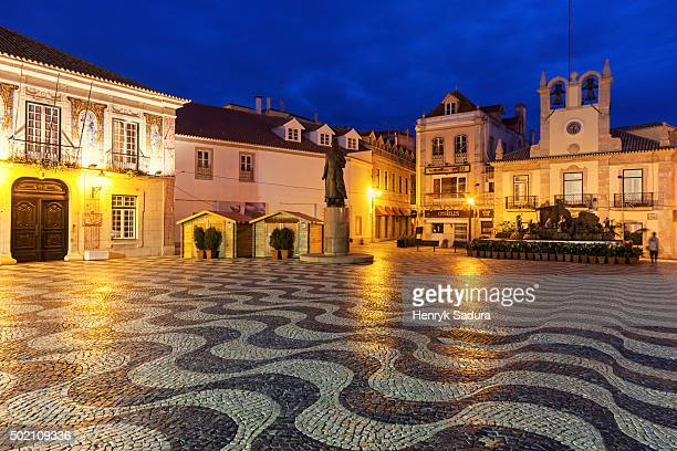 cascais town hall at sunrise - cascais stock photos and pictures