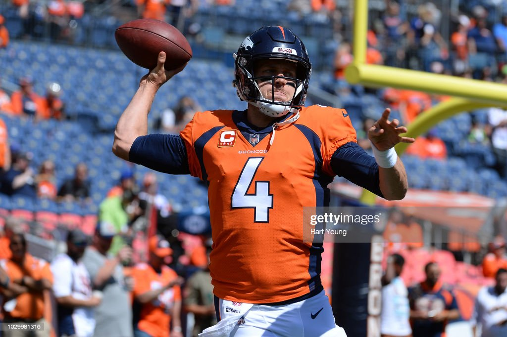 Case Keenum #4 of Denver Broncos warms up prior to the game against the Seattle Seahawks at Broncos Stadium at Mile High on September 9, 2018 in Denver, Colorado.