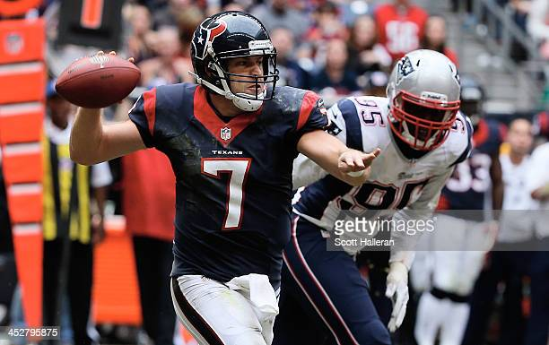 Case Keenum of the Houston Texans looks to pass in the second half during the game against the New England Patriots at Reliant Stadium on December 1...