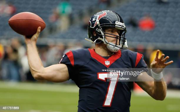 Case Keenum of the Houston Texans throws a pass on the field before the game against the Jacksonville Jaguars at Reliant Stadium on November 24 2013...