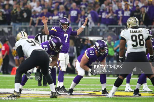 Case Keenum of the Minnesota Vikings at the line of scrimmage in the first quarter of the NFC Divisional Playoff game against the New Orleans Saints...