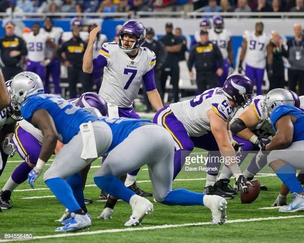 Case Keenum of the Minnesota Vikings calls a play against the Detroit Lions during an NFL game at Ford Field on November 23 2016 in Detroit Michigan...