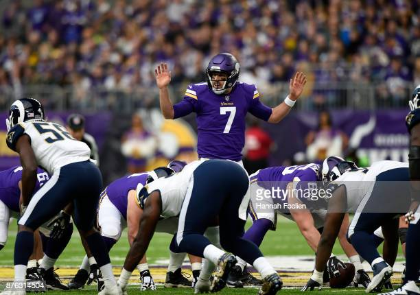 Case Keenum of the Minnesota Vikings calls a play at the line of scrimmage in the first half of the game against the Los Angeles Rams on November 19...