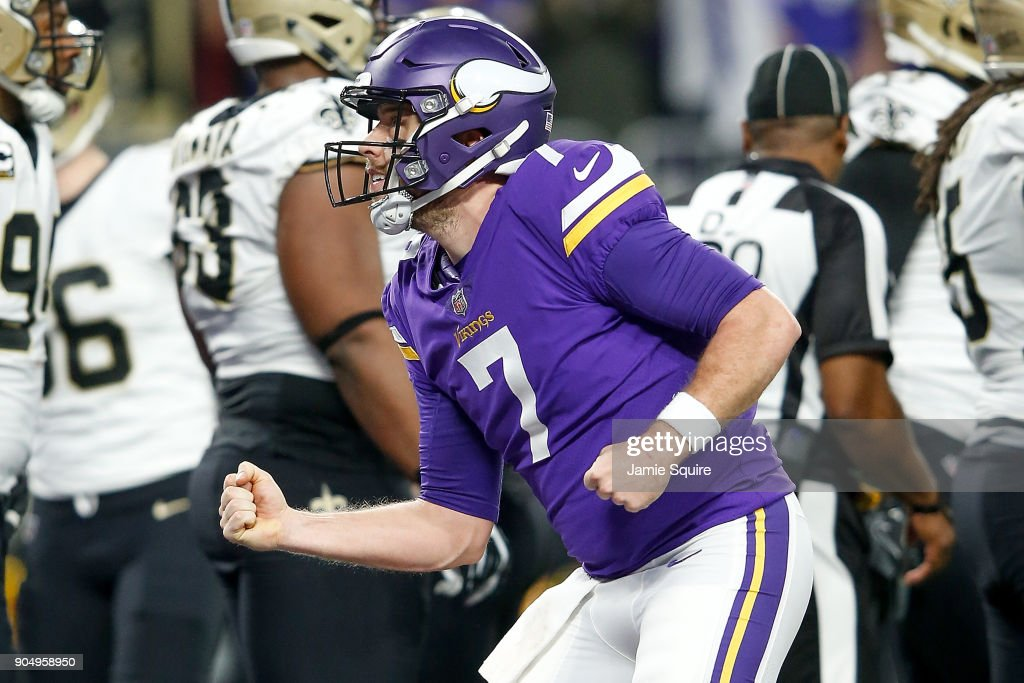 Case Keenum #7 of the Minnesota Vikings celebrates after a touchdown against the New Orleans Saints during the first half of the NFC Divisional Playoff game at U.S. Bank Stadium on January 14, 2018 in Minneapolis, Minnesota.