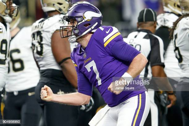 Case Keenum of the Minnesota Vikings celebrates after a touchdown against the New Orleans Saints during the first half of the NFC Divisional Playoff...