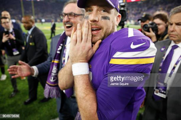 Case Keenum of the Minnesota Vikings celebrates after defeating the New Orleans Saints in the NFC Divisional Playoff game at US Bank Stadium on...