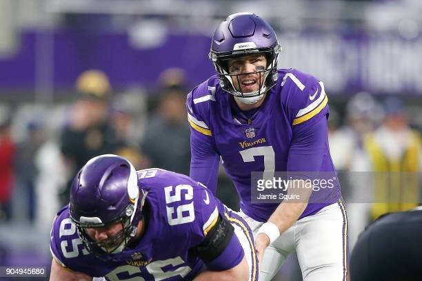 Case Keenum of the Minnesota Vikings directs the offense at the line of scrimmage against the New Orleans Saints during the first half of the NFC...