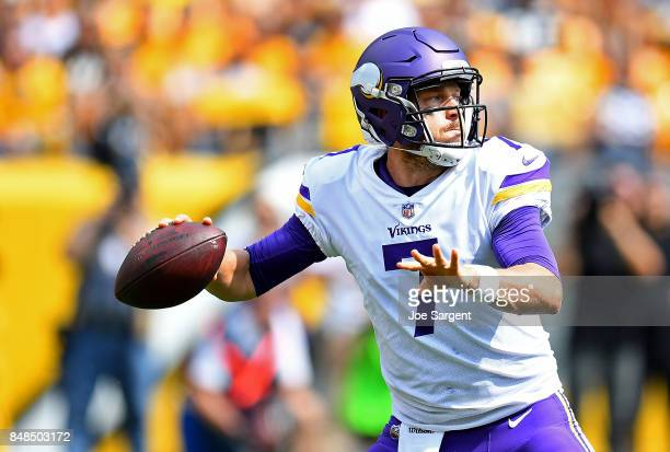 Case Keenum of the Minnesota Vikings drops back to pass in the first half during the game against the Pittsburgh Steelers at Heinz Field on September...