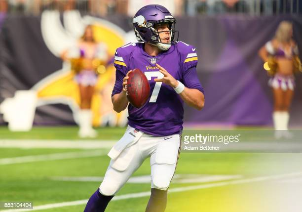 Case Keenum of the Minnesota Vikings drops back to pass the ball in the first half of the game against the Tampa Bay Buccaneers on September 24 2017...