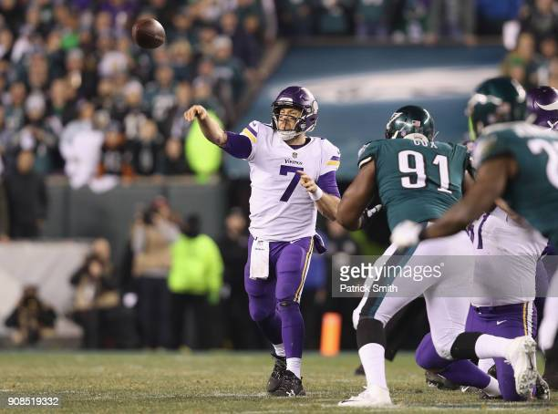 Case Keenum of the Minnesota Vikings looks to pass against the Philadelphia Eagles during the second quarter in the NFC Championship game at Lincoln...