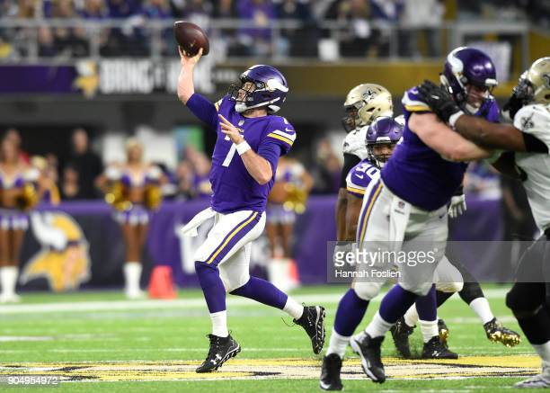 Case Keenum of the Minnesota Vikings passes the ball in the first half of the NFC Divisional Playoff game against the New Orleans Saints on January...
