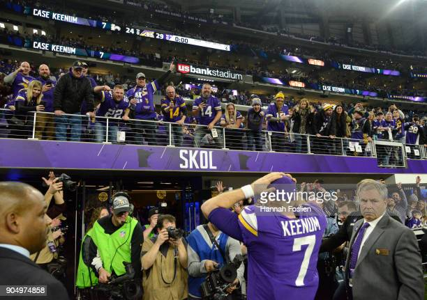 Case Keenum of the Minnesota Vikings reacts after defeating the New Orleans Saints on a last second touchdown in the NFC Divisional Playoff game on...