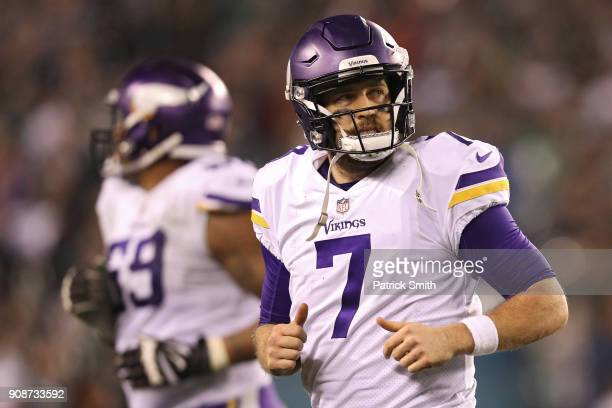 Case Keenum of the Minnesota Vikings reacts during the fourth quarter against the Philadelphia Eagles in the NFC Championship game at Lincoln...