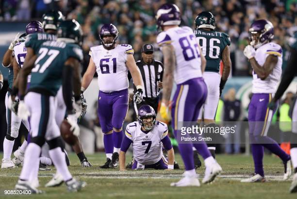 Case Keenum of the Minnesota Vikings reacts during the second quarter against the Philadelphia Eagles in the NFC Championship game at Lincoln...