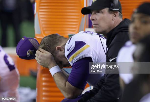 Case Keenum of the Minnesota Vikings reacts from the bench during the fourth quarter against the Philadelphia Eagles in the NFC Championship game at...