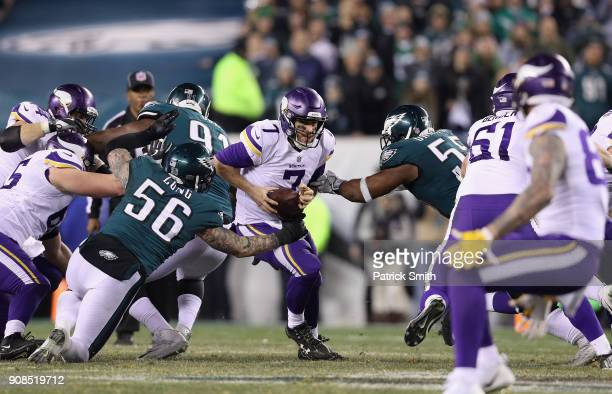 Case Keenum of the Minnesota Vikings scrambles out of the pocket during the second quarter against the Philadelphia Eagles during the second quarter...