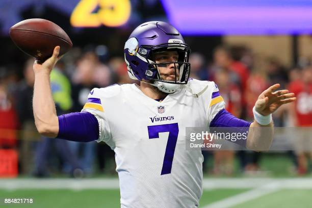 Case Keenum of the Minnesota Vikings warms up prior to the game against the Atlanta Falcons at MercedesBenz Stadium on December 3 2017 in Atlanta...
