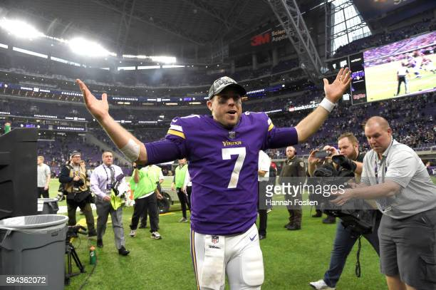 Case Keenum of the Minnesota Vikings wears an 'NFC North Champions' hat after the game against the Cincinnati Bengals on December 17 2017 at US Bank...