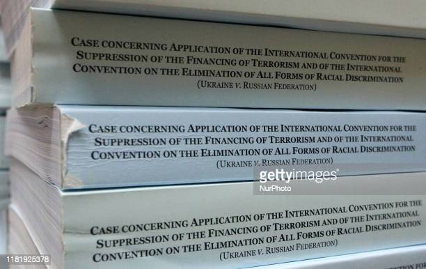 Case materials during a briefing by Ukraine's Deputy Foreign Minister Olena Zerkal on a decision made on November 8, 2019 by the UN International...