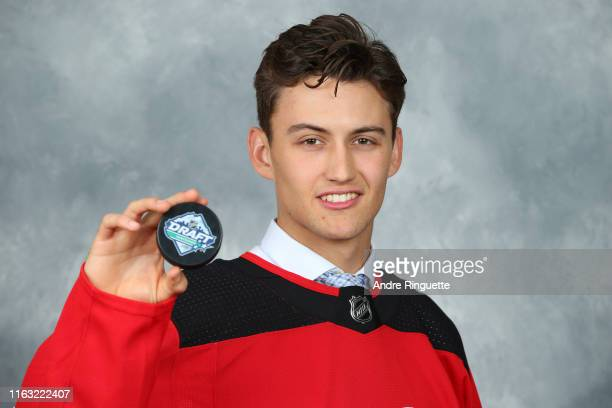 Case McCarthy 118th overall pick of the New Jersey Devils poses for a portrait during Rounds 27 of the 2019 NHL Draft at Rogers Arena on June 22 2019...