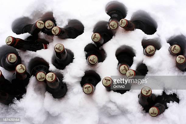 Cas de bière dans la neige