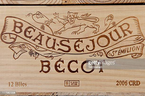 Case of Chateau BeauSejour Becot 2006 vintage wine at St Emilion in the Bordeaux wine region of France