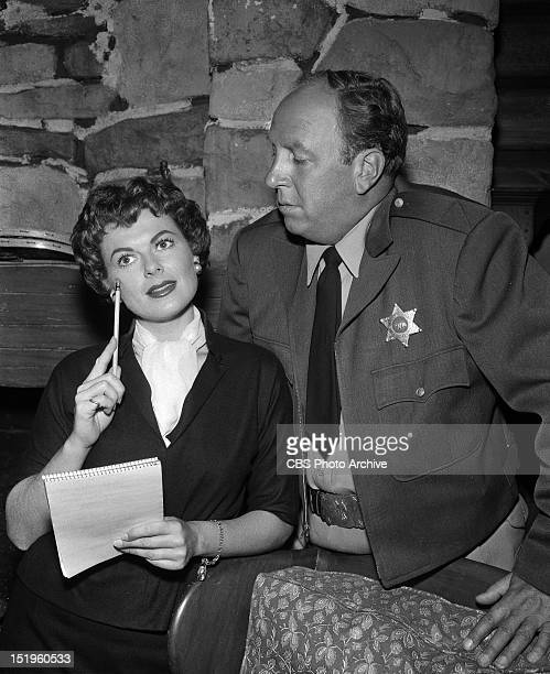 MASON Case of the Buried Clock Barbara Hale as Della Street and Robert Foulk as Sheriff Elmore Image dated September 9 1958