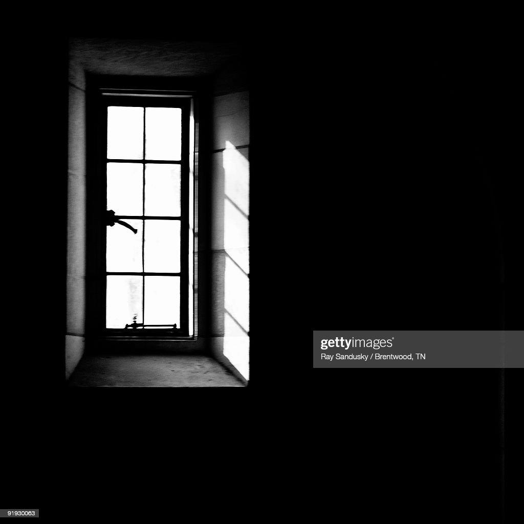 Casement Window With Sunlight in Black & White : Stock Photo