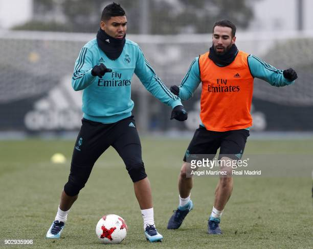 Casemiro and Daniel Carvajal of Real Madrid in action during a training session at Valdebebas training ground on January 9 2018 in Madrid Spain