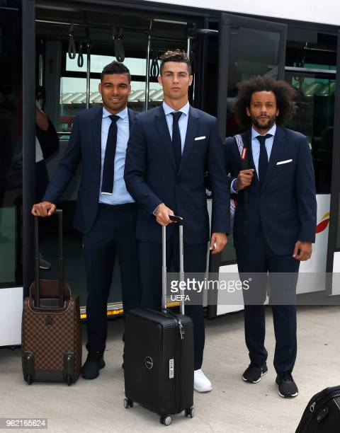 Casemiro Cristiano Ronaldo and Marcelo of Real Madrid arrive ahead of the UEFA Champions League Final at KBP Airport on May 24 2018 in Kiev Ukraine