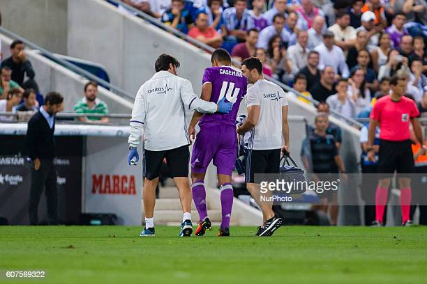 Casemiro injured during the match between RCD Espanyol vs Real Madrid for the round 4 of the Liga Santander played at RCD Espanyol Stadium on 18th...