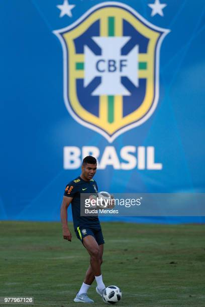 Casemiro looks on during a training session at YugSport Stadium on June 18 2018 in Sochi Russia