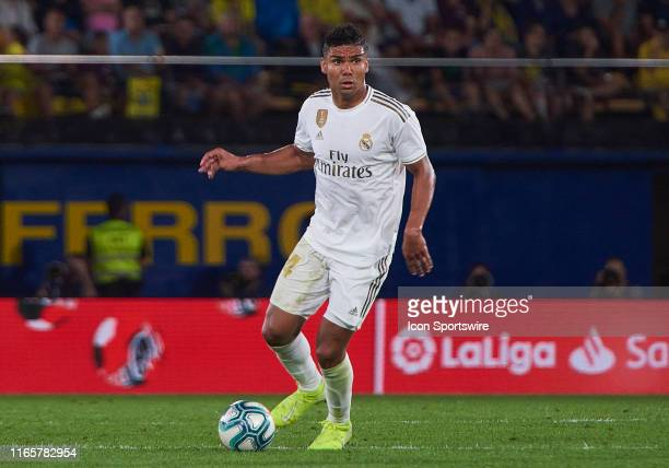 Casemiro, midfielder of Real Madrid with the ball during the La Liga match between Villarreal CF and Real Madrid CF at Ceramica stadium on September...