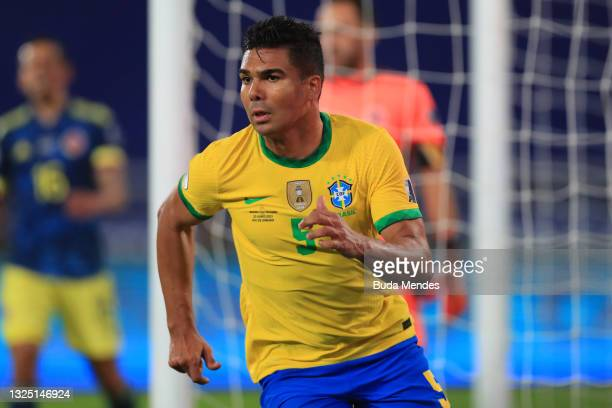 Casemiro of Brazil celebrates after scoring the second goal of his team during a Group B match between Brazil and Colombia as part of Copa America...