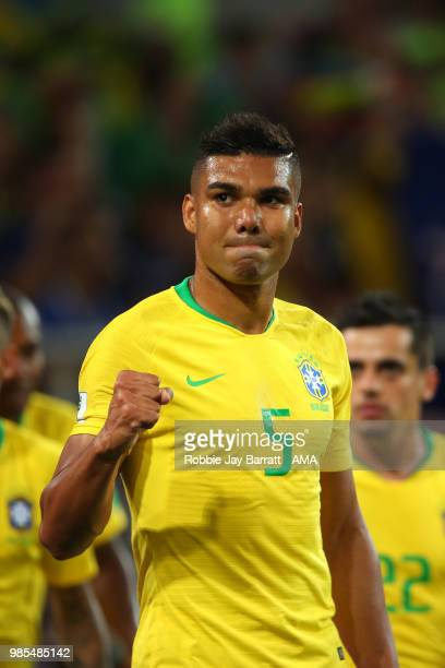 Casemiro of Brazil celebrates after Thiago Silva of Brazil scored a goal to make it 02 during the 2018 FIFA World Cup Russia group E match between...