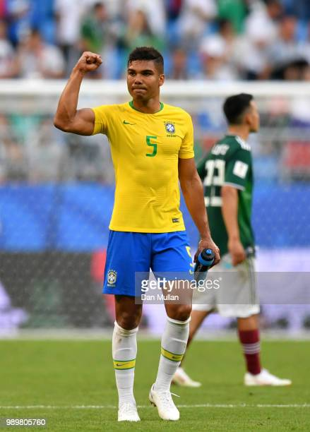 Casemiro of Brazil celebrates victory following the 2018 FIFA World Cup Russia Round of 16 match between Brazil and Mexico at Samara Arena on July 2...