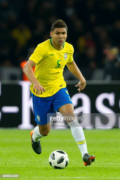 Casemiro of Brazil controls the ball during the international friendly match between Germany and Brazil at Olympiastadion on March 27 2018 in Berlin...