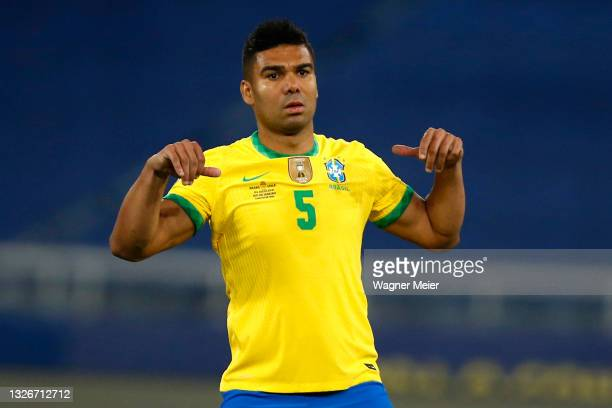 Casemiro of Brazil gestures during a quarterfinal match between Brazil and Chile as part of Copa America Brazil 2021 at Estadio Olímpico Nilton...
